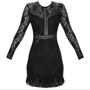 27b88e241fd PLT Black Lace Ladder Detail Frill Hem Dress NWT